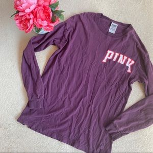 VS Pink Burgundy Long Sleeve Pocket Graphic T